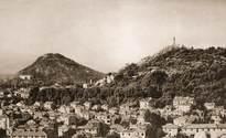 Поглед от Таксим тепе към Бунарджика, Джендем тепе и към сградите в източното подножие на Сахат тепе 1960-1970г.